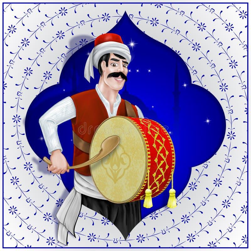 De Ramadanslagwerker is de illustratie van het Ottomanekarakter royalty-vrije illustratie