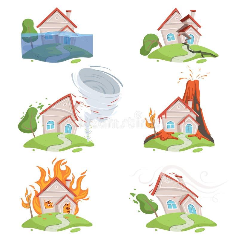 De ramp van de aard Van de tsunamivulkaan van het bergijs van het de lavawater scène van het de vernietigings de vectorbeeldverha vector illustratie