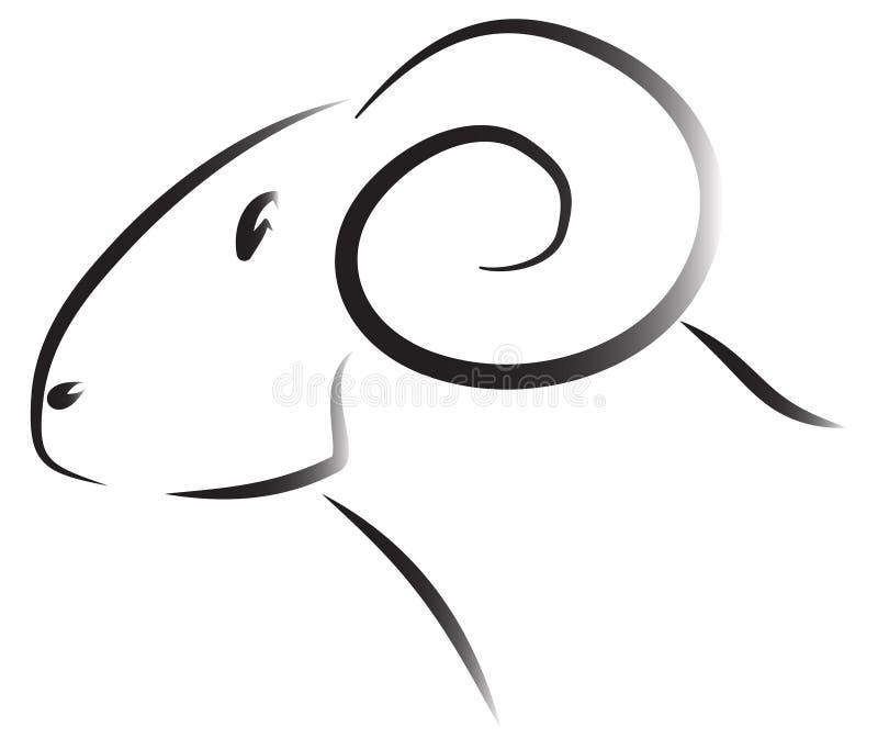 De ramsembleem van schapen stock foto