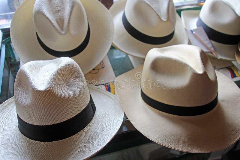 De rangen van de het strohoed van Panama toonden bij manufacterer, fino en superfino, Montecristi, Ecuador stock afbeeldingen