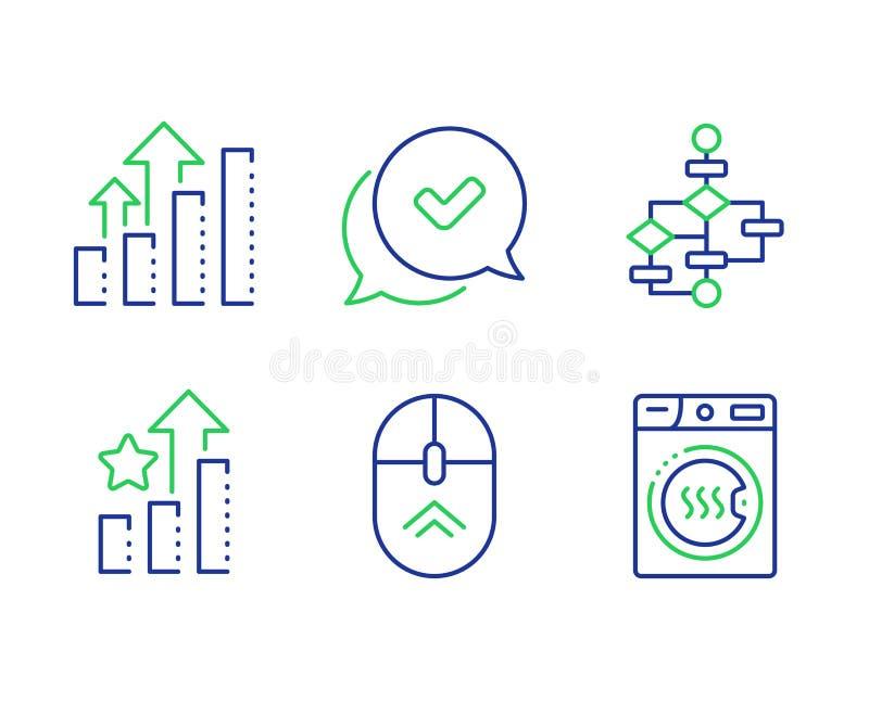 De rangschikkende sterren, goedgekeurde en de grafiekreeks van de Analyse Blokdiagram, draaiing en machinetekens voor droger Vect royalty-vrije illustratie