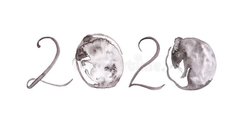 De rat is een symbool van het nieuwe jaar 2020 Abstracte illustratie van aantallen voor kalender In plaats van nul van een rat in stock afbeeldingen