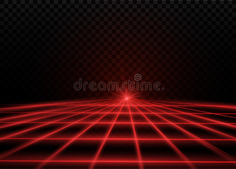 De rayo láser rojo abstracto Transparente aislado en fondo negro Ilustración del vector el efecto luminoso floodlight ilustración del vector