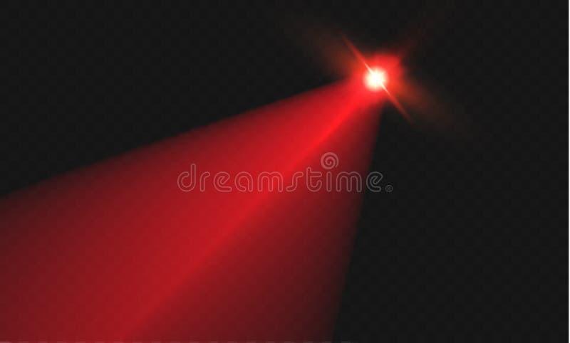 De rayo láser rojo abstracto Transparente aislado en fondo negro Ilustración del vector el efecto luminoso reflector direccional ilustración del vector