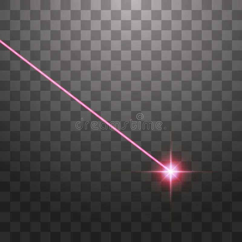 De rayo l?ser rojo abstracto Aislado en fondo negro transparente Ilustraci?n del vector imagen de archivo libre de regalías