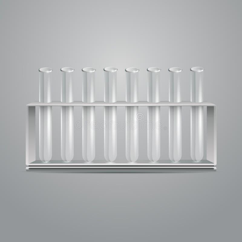 De reageerbuizen van het glaslaboratorium stock illustratie