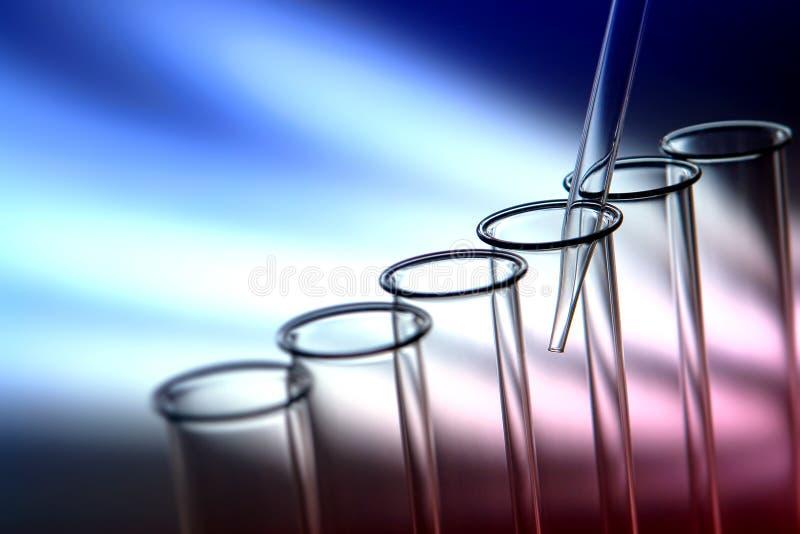 De Reageerbuizen van het laboratorium In het Laboratorium van het Onderzoek van de Wetenschap stock fotografie