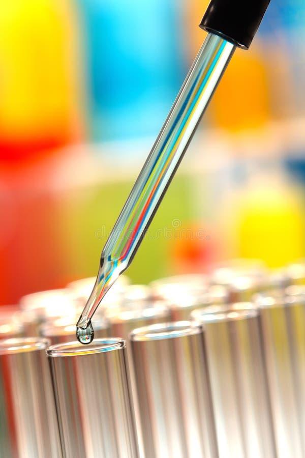 De Reageerbuizen van het laboratorium In het Laboratorium van het Onderzoek van de Wetenschap stock afbeelding