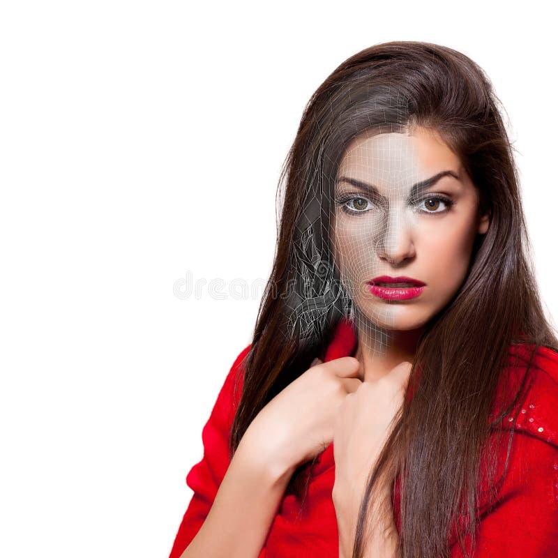 De realist geeft van Mooie 3D Jonge Vrouw terug die Rode Kleding, Th dragen stock foto