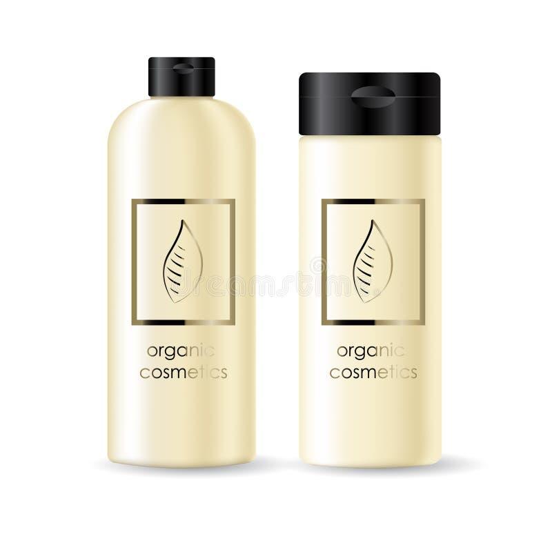 De realistische beige fles voor shampoospot plaatste omhoog vector illustratie