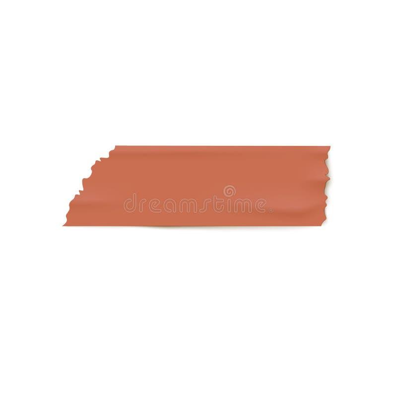 De realistische bruine strook van de buisband met gescheurde randen, ongelijk geweven stuk van kleverig document met baksteenkleu stock illustratie