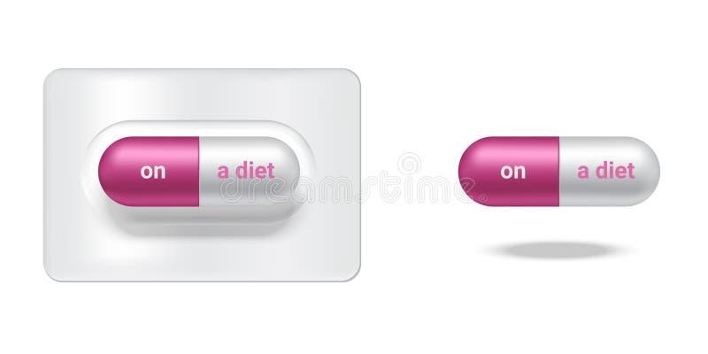 De realistische Capsule of Pillengeneeskunde met op een dieet en een Verslaafde aan Slank Lichaam isoleerde Achtergrond stock illustratie