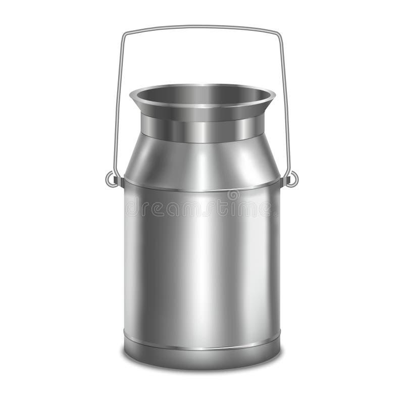 De realistische Container van de Metaal Glanzende Melk Vector royalty-vrije illustratie