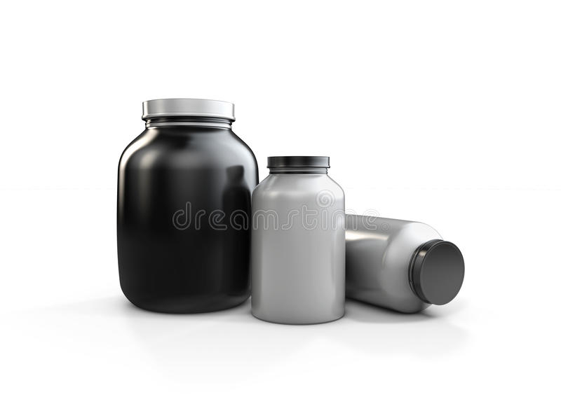 De realistische containers van de sportvoeding zonder etiket 3d illustratie die op witte achtergrond wordt geïsoleerdt vector illustratie