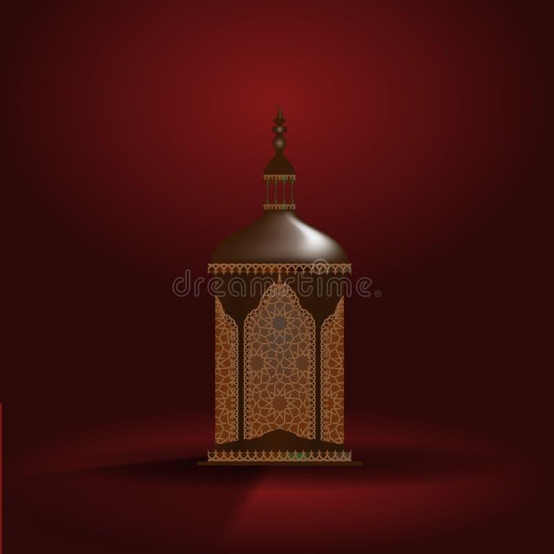 De realistische 3d lantaarn van Ramadan Kareem Vector illustratie stock illustratie
