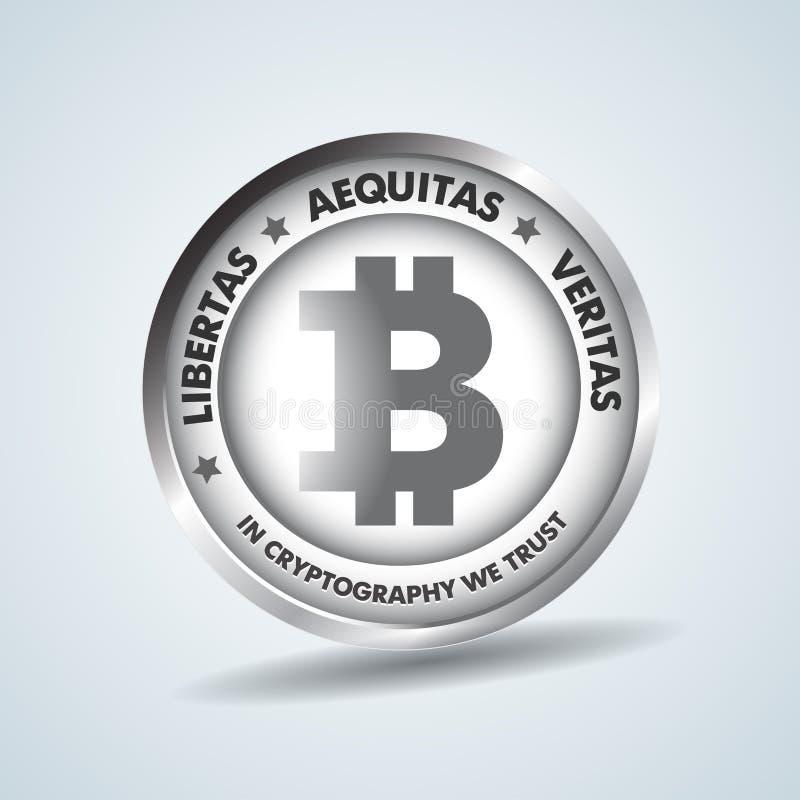 De realistische 3d zilveren vectorillustratie van het bitcoinmuntstuk voor fintech netto bankwezen en blockchain concept Zilveren vector illustratie