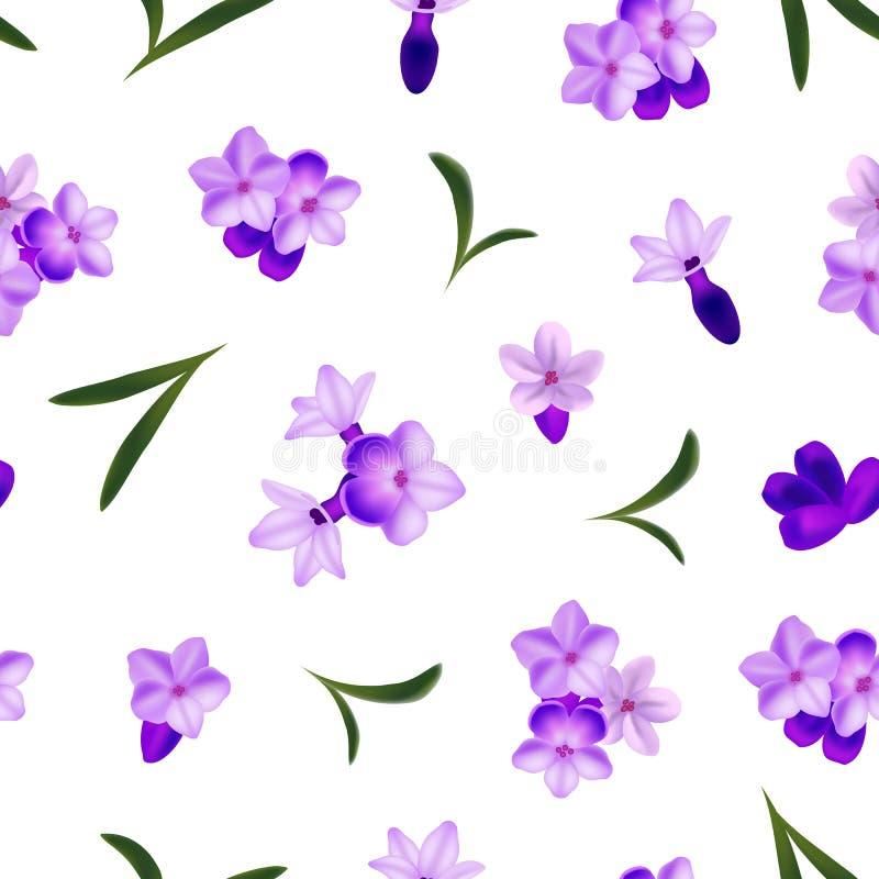 De realistische Gedetailleerde 3d Lavendel bloeit Naadloze Patroonachtergrond Vector royalty-vrije illustratie