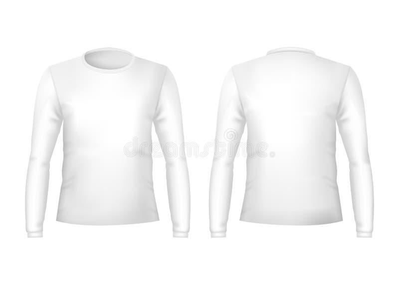 De realistische Gedetailleerde 3d Voor en Achterkanten van Malplaatje Lege Witte T-shirts Vector stock illustratie