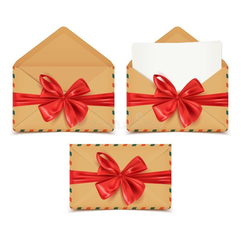 De realistische geplaatste ambachtenveloppen, openen, het gesloten, lege document plakken uit en decoratieve rode boog, vectorill stock illustratie