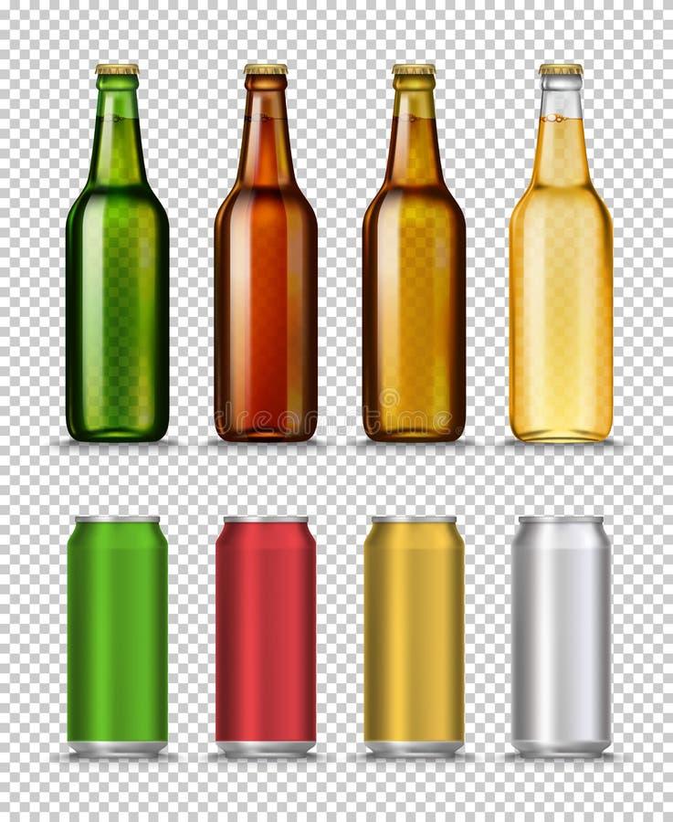 De realistische Groene, bruine, gele en semipermeabele flessen van het glasbier en kunnen met drank op een witte achtergrond stock illustratie