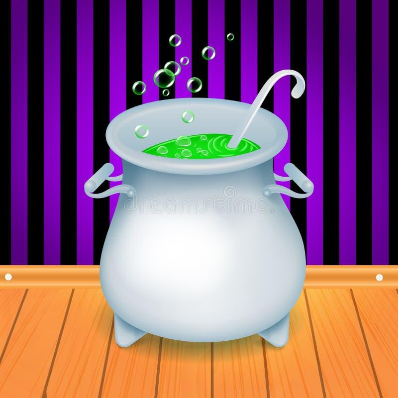 De realistische Halloween-pot van de heksens ketel met groene het borrelen heks s brouwt daarin royalty-vrije illustratie