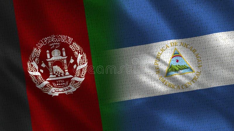 De Realistische Halve Vlaggen van Afghanistan en van Nicaragua samen stock foto's