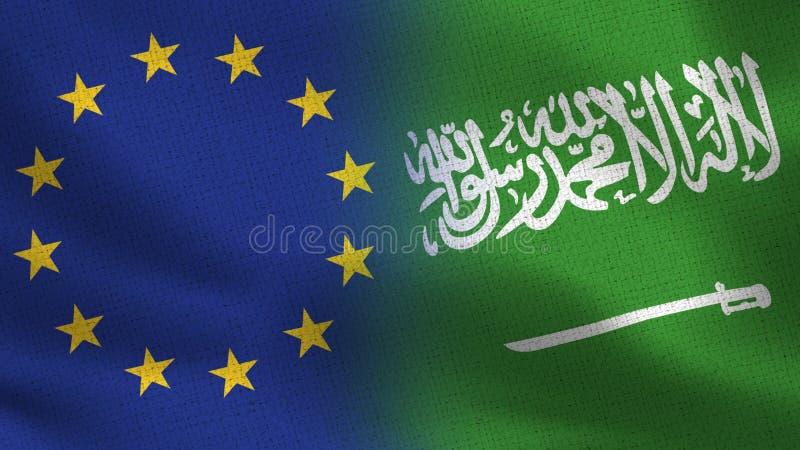 De Realistische Halve Vlaggen van de EU en van Saudi-Arabië samen royalty-vrije illustratie