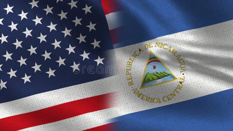 De Realistische Halve Vlaggen van de V.S. en van Nicaragua samen stock fotografie