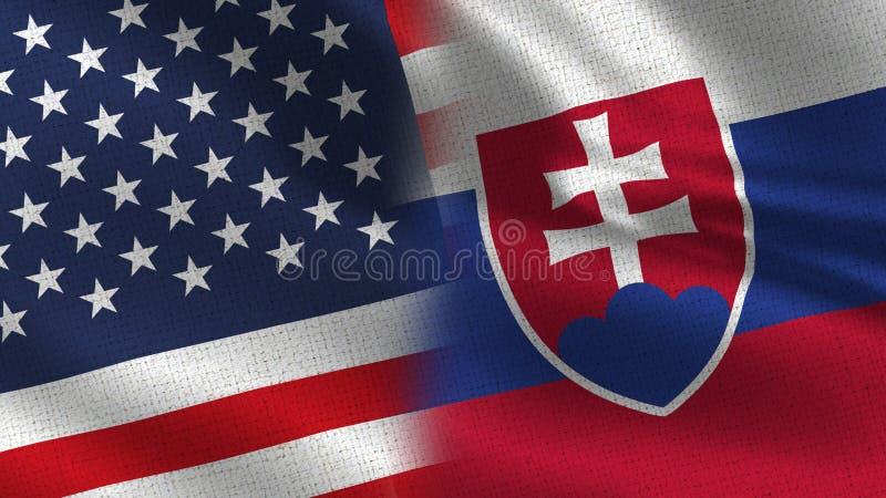 De Realistische Halve Vlaggen van de V.S. en van Slowakije samen stock afbeelding