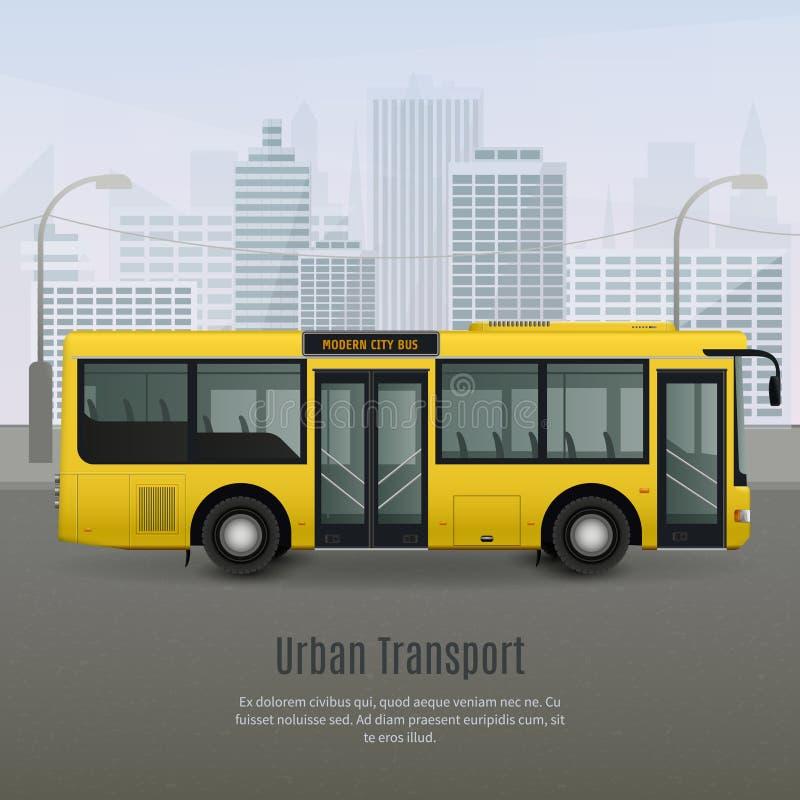 De realistische Illustratie van de Stadsbus royalty-vrije illustratie
