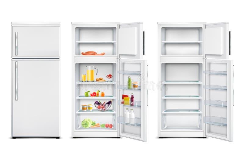 De Realistische Inzameling van de koelkasteenheid stock illustratie