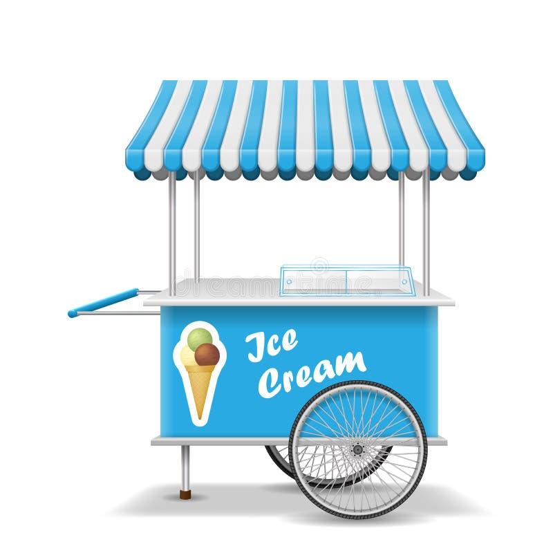 De realistische kar van het straatvoedsel met wielen Het mobiele blauwe malplaatje van de roomijsmarktkraam De karmodel van de ro royalty-vrije illustratie