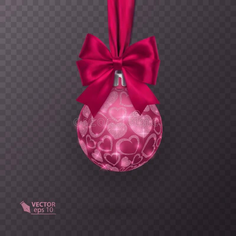 De realistische Kerstmisbal met rood lint en schittert hartornament op transparante achtergrond Vector illustratie royalty-vrije illustratie