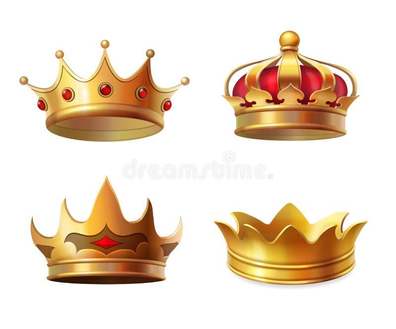 De realistische koninklijke vastgestelde vectorillustratie van het kroonpictogram royalty-vrije illustratie