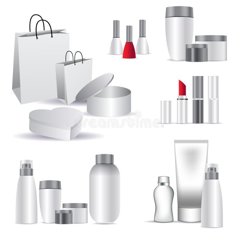De realistische kosmetische flessenspot zette geïsoleerd pak op witte achtergrond op Kosmetisch merkmalplaatje stock illustratie