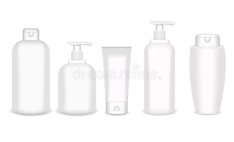 De realistische kosmetische flessenspot zette geïsoleerd pak op witte achtergrond op Kosmetisch merkmalplaatje Shampoopak royalty-vrije illustratie