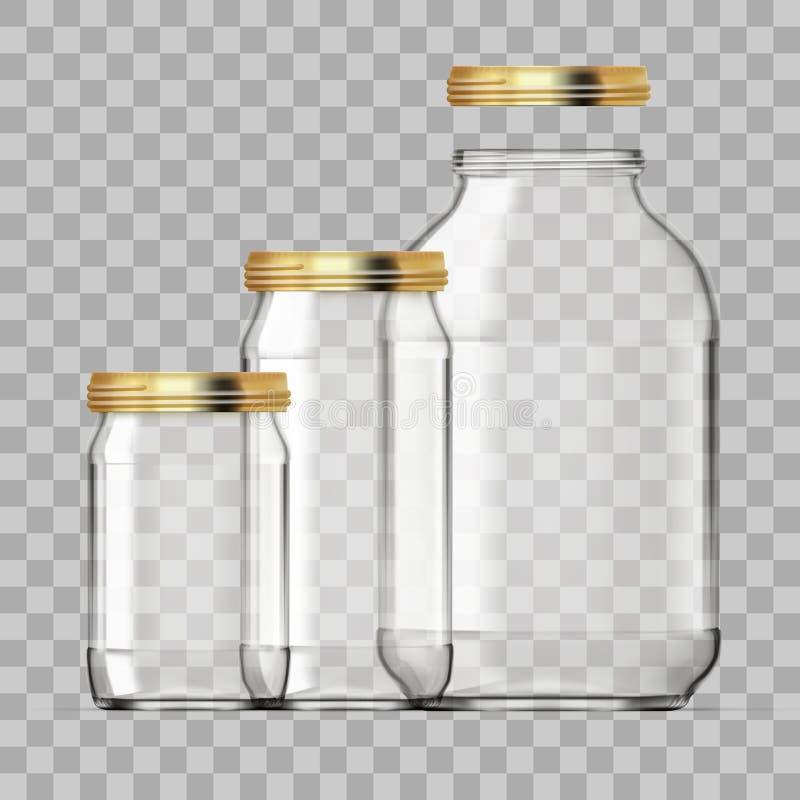 De realistische Lege die 3L Reeks van de Glaskruik op Witte Achtergrond wordt geïsoleerd vector illustratie