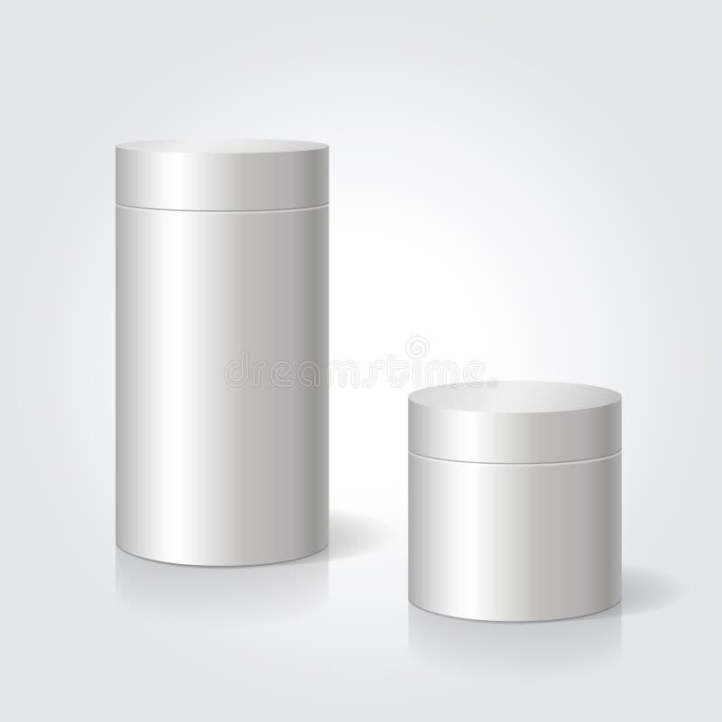 De realistische lege witte spot van de pakketdoos adverteert tot goederen Cilindrische container royalty-vrije illustratie