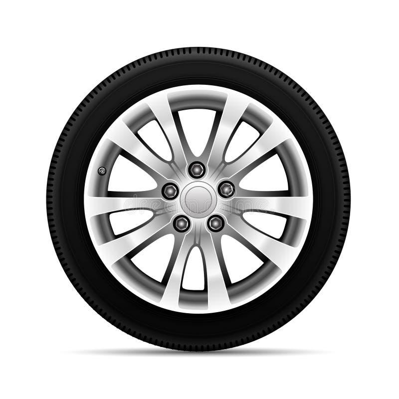 De realistische legering van het autowiel met het ontwerp van de bandsport op witte vector als achtergrond vector illustratie