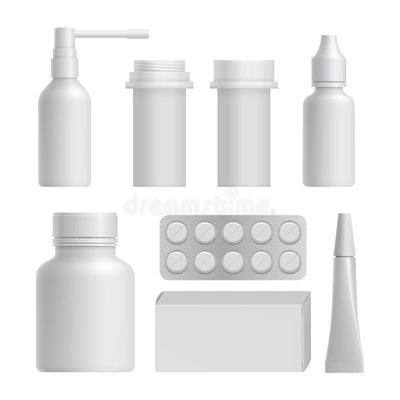 De realistische medische flessenspot plaatste omhoog vector illustratie