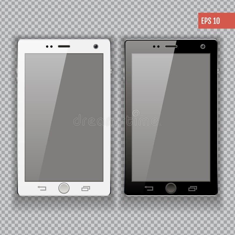 De realistische mobiele inzameling van telefoonsmartphone iphon modellen met het lege geïsoleerde scherm voor druk en Webelement stock illustratie