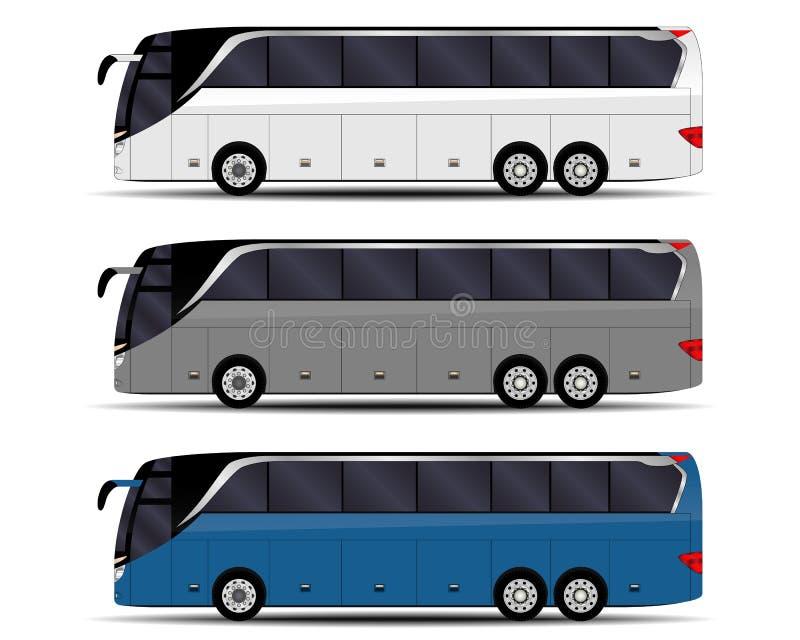 De realistische passagiers vervoeren per bus vector illustratie
