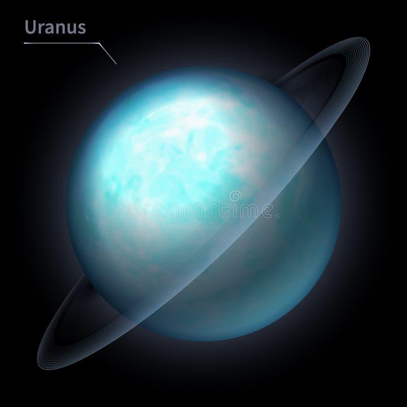 Is de realistische planeet van Uranus geïsoleerd op de kosmische hemel in de duisternis van de melkweg royalty-vrije illustratie
