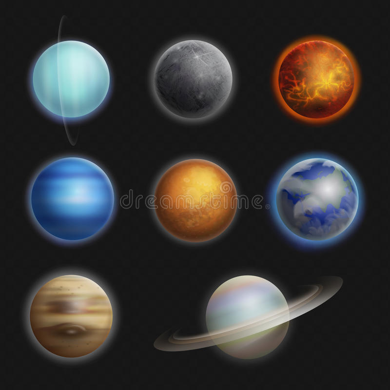 De realistische reeks geïsoleerde vectorillustratie van zonnestelselplaneten royalty-vrije illustratie