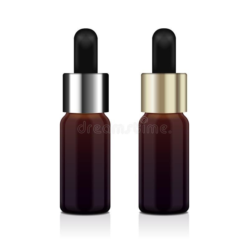 De realistische reeks van de etherische olie bruine fles Vectorspot op flessen kosmetisch of medisch flesje, fles, flacon 3d illu stock illustratie