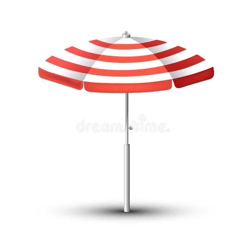 De realistische reeks van de Strandparaplu Rood en wit ontwerp Geïsoleerd voor alle achtergronden royalty-vrije illustratie