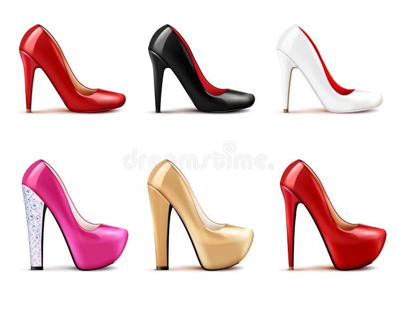 De Realistische Reeks van vrouwenschoenen stock illustratie