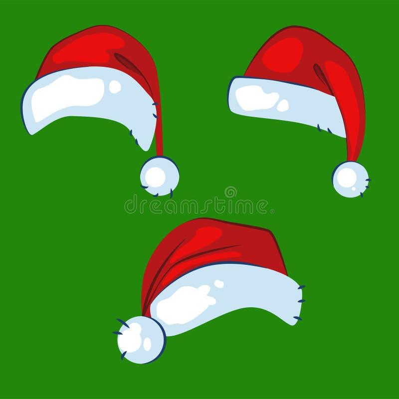 De realistische rode hoeden van de Kerstmiskerstman isoleerden vectorreeks stock illustratie