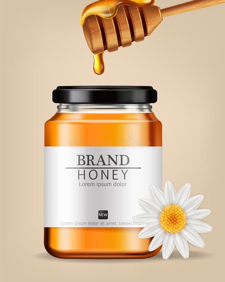 De realistische spot van Honey Vector omhoog Het etiketontwerp van de productplaatsing Gedetailleerde 3d illustraties royalty-vrije illustratie
