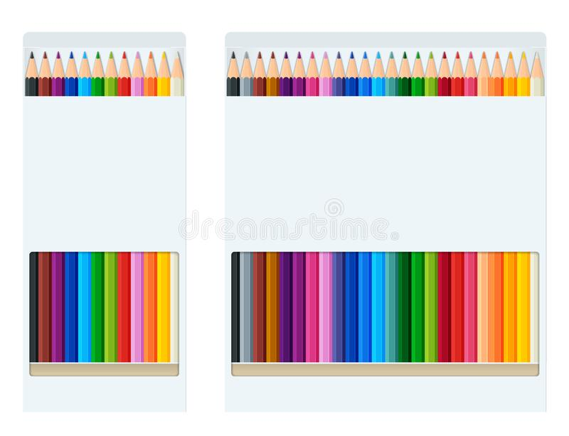 De realistische stijl gescherpte gekleurde kleurpotloden of het potlood kleuren regenboogstijl isoleren op witte achtergrond Reek stock illustratie